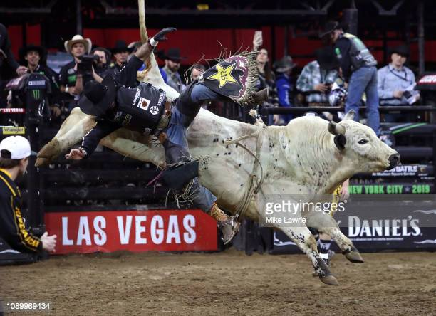 Cody Teel rides Switch Hitter during the PBR Unleash The Beast bull riding event at Madison Square Garden on January 04 2019 in New York City