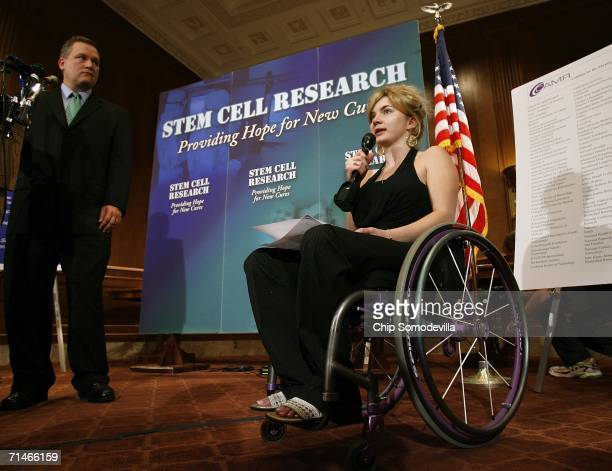 Cody Unser of Albuquerque, New Mexico, speaks during a news conference in the run up to a series of Senate votes on stem cell research on Capitol...