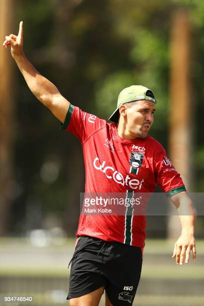 Cody Walker celebrates during a drill at a South Sydney Rabbitohs NRL Training Session at Redfern Oval on March 20 2018 in Sydney Australia