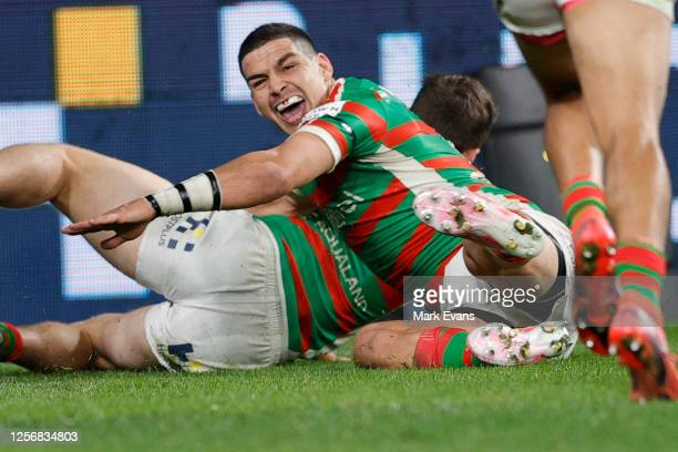 Cody Walker of Souths reacts as Damien Cook scores a try during the round 10 NRL match between the South Sydney Rabbitohs and the Newcastle Knights...
