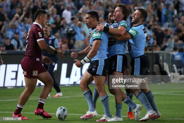 Cody Walker of the Blues celebrates after scoring a try during game two of the 2020 State of Origin series between the New South Wales Blues and the...