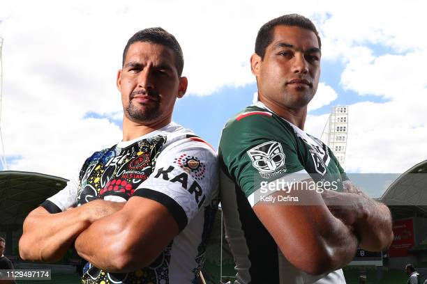 Cody Walker of the Indigenous All Stars and Adam Blair of the New Zealand Maori All Stars pose for a portrait during the NRL All Stars Media...