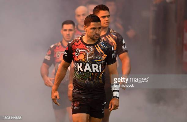 Cody Walker of the Indigenous All Stars leads his team out onto the field during the NRL All Stars game between the Indigenous and the Maori Men's at...