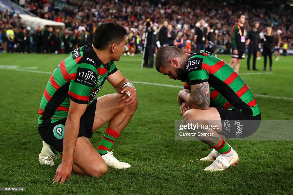 Cody Walker of the Rabbitohs and Adam Reynolds of the Rabbitohs look dejected after losing the NRL Preliminary Final match between the Sydney Roosters and the South Sydney Rabbitohs at Allianz Stadium on September 22, 2018 in Sydney, Australia.