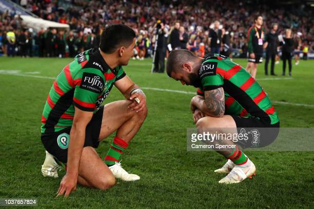 Cody Walker of the Rabbitohs and Adam Reynolds of the Rabbitohs look dejected after losing the NRL Preliminary Final match between the Sydney...