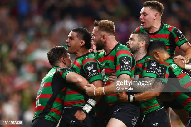 Cody Walker of the Rabbitohs celebrates a try during the 2021 NRL Grand Final match between the Penrith Panthers and the South Sydney Rabbitohs at...
