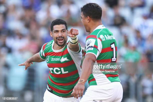 Cody Walker of the Rabbitohs celebrates scoring a try with Latrell Mitchell of the Rabbitohs during the round four NRL match between the Canterbury...