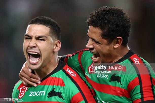 Cody Walker of the Rabbitohs celebrates with Dane Gagai of the Rabbitohs after scoring a try during the NRL Semi Final match between the South Sydney...