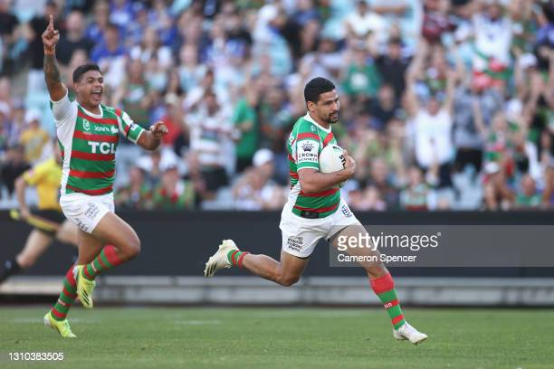 Cody Walker of the Rabbitohs heads in for a try during the round four NRL match between the Canterbury Bulldogs and the South Sydney Rabbitohs at...