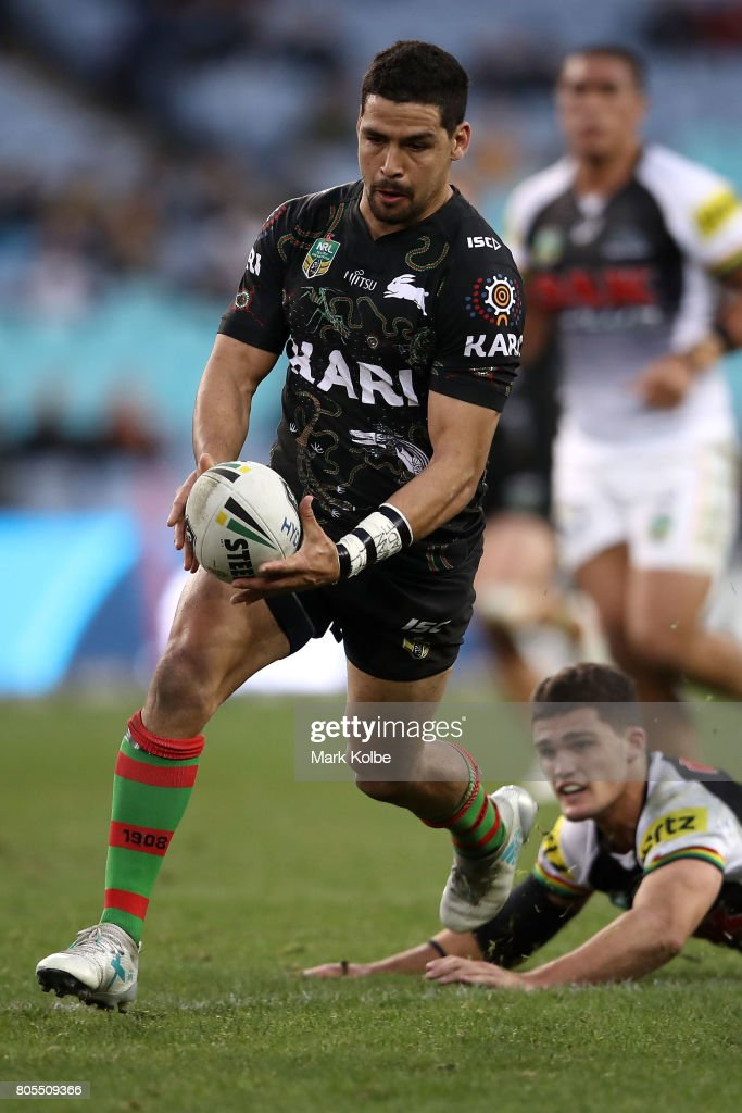 Cody Walker of the Rabbitohs makes a break during the round 17 NRL match between the South Sydney Rabbitohs and the Penrith Panthers at ANZ Stadium on July 2, 2017 in Sydney, Australia.