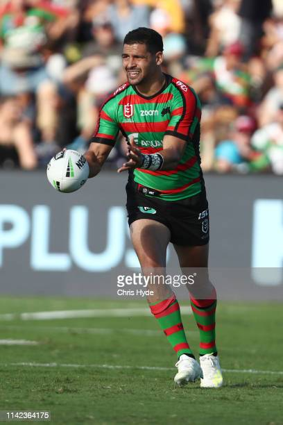 Cody Walker of the Rabbitohs passes during the round five NRL match between the South Sydney Rabbitohs and the New Zealand Warriors at Sunshine Coast...