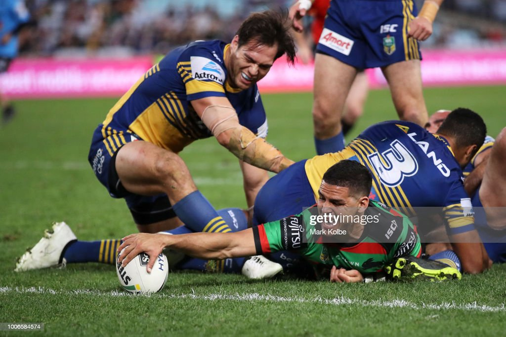 Cody Walker of the Rabbitohs reaches out to score a try only to have the try disallowed after review during the round 20 NRL match between the South Sydney Rabbitohs and the Parramatta Eels at ANZ Stadium on July 28, 2018 in Sydney, Australia.