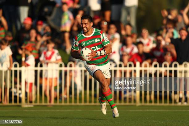 Cody Walker of the Rabbitohs scores a try during the Charity Shield & NRL Trial Match between the South Sydney Rabbitohs and the St George Illawarra...