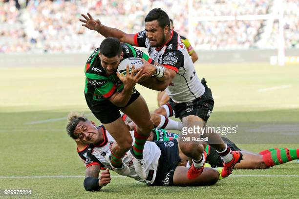 Cody Walker of the Rabbitohs scores a try during the round one NRL match between the South Sydney Rabbitohs and the New Zealand Warriors at Perth...