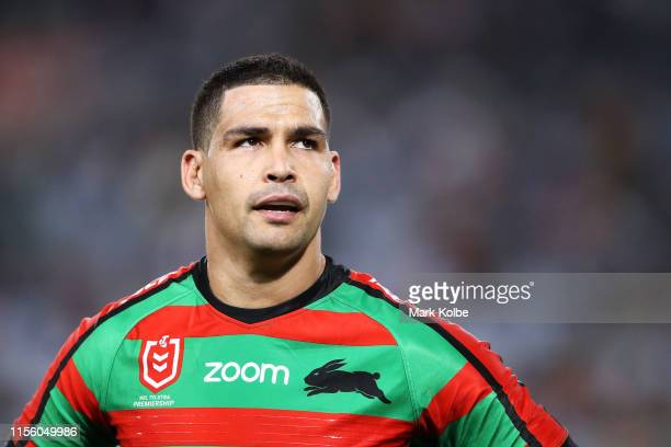 Cody Walker of the Rabbitohs watches the big screen during the round 14 NRL match between the South Sydney Rabbitohs and the Penrith Panthers at ANZ...