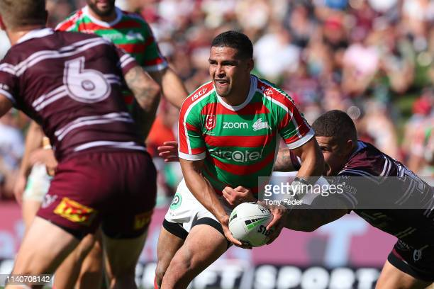Cody Walker of the South Sydney Rabbitohs is tackled during the round four NRL match between the Manly Sea Eagles and the South Sydney Rabbitohs at...