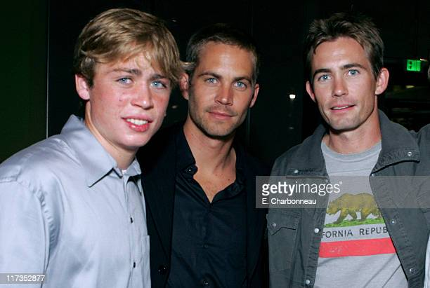 Cody Walker Paul Walker and Caleb Walker during MGM Pictures and Columbia Pictures 'Into the Blue' Premiere After Party at Napa Valley Grill in...