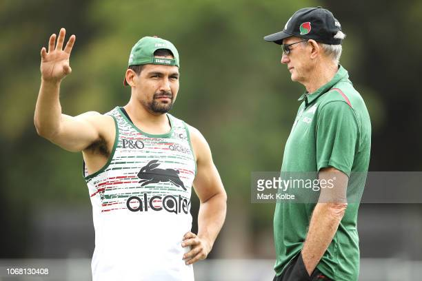Cody Walker speaks to New South Sydney Rabbitohs Coach Wayne Bennett on during a Sydney Rabbitohs training session at Redfern Oval at Redfern Oval on...