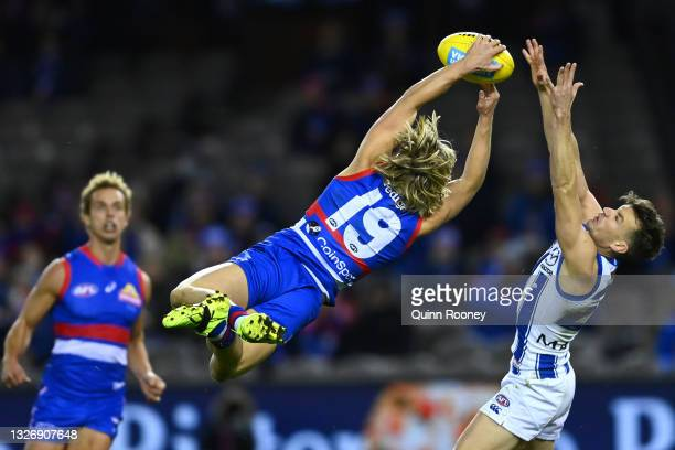 Cody Weightman of the Bulldogs marks during the round 16 AFL match between Western Bulldogs and North Melbourne Kangaroos at Marvel Stadium on July...
