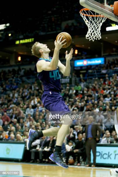 Cody Zeller of the Charlotte Hornets attempts a layup in the fourth quarter against the Milwaukee Bucks at BMO Harris Bradley Center on April 10 2017...
