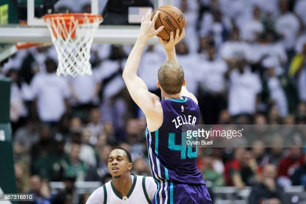 Cody Zeller of the Charlotte Hornets attempts a shot in the second quarter against the Milwaukee Bucks at BMO Harris Bradley Center on April 10 2017...