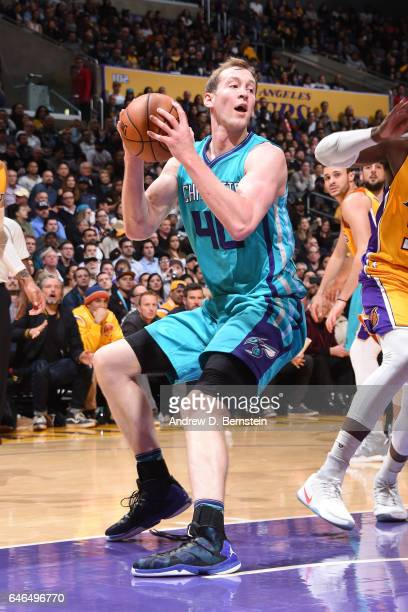 Cody Zeller of the Charlotte Hornets drives to the basket against the Los Angeles Lakers on February 28 2017 at STAPLES Center in Los Angeles...