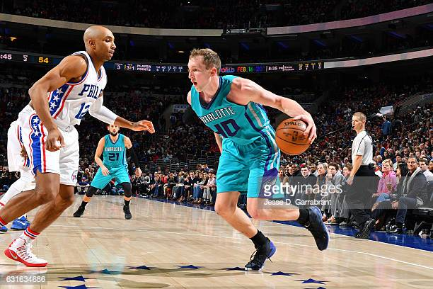 Cody Zeller of the Charlotte Hornets drives to the basket during the game against the Philadelphia 76ers on January 13 2017 at Wells Fargo Center in...