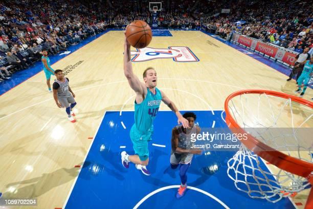 Cody Zeller of the Charlotte Hornets dunks the ball against the Philadelphia 76ers on November 9 2018 at Wells Fargo Center in Philadelphia...