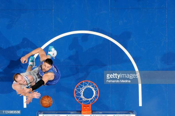 Cody Zeller of the Charlotte Hornets goes to the basket against the Orlando Magic on February 14 2019 at Amway Center in Orlando Florida NOTE TO USER...
