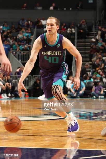 Cody Zeller of the Charlotte Hornets handles the ball against the Portland Trail Blazerson March 3 2019 at Spectrum Center in Charlotte North...