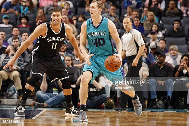 Cody Zeller of the Charlotte Hornets handles the ball against the Brooklyn Nets on January 21 2017 at Time Warner Cable Arena in Charlotte North...