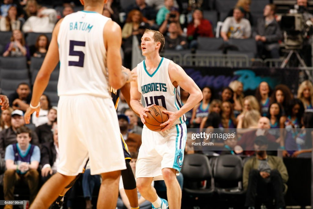 Cody Zeller #40 of the Charlotte Hornets handles the ball against the Indiana Pacers on March 6, 2017 at Spectrum Center in Charlotte, North Carolina.