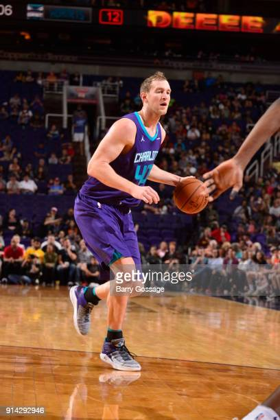 Cody Zeller of the Charlotte Hornets handles the ball against the Phoenix Suns on February 4 2018 at Talking Stick Resort Arena in Phoenix Arizona...