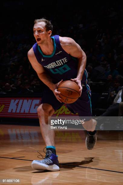 Cody Zeller of the Charlotte Hornets handles the ball during the game against the Denver Nuggets on February 5 2018 at the Pepsi Center in Denver...