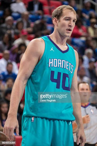 Cody Zeller of the Charlotte Hornets looks down court against the Detroit Pistons during the Inaugural NBA game at the new Little Caesars Arena on...