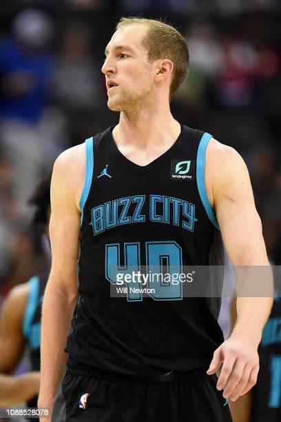 Cody Zeller of the Charlotte Hornets looks on during the second half against the Washington Wizards at Capital One Arena on December 29 2018 in...