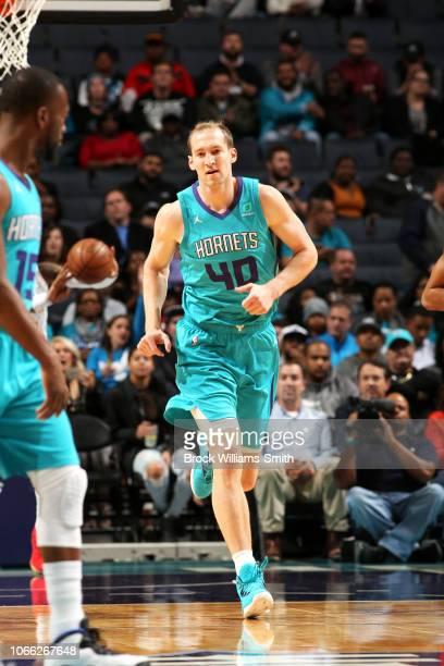 Cody Zeller of the Charlotte Hornets moves up the court during the game against the Atlanta Hawks on November 28 2018 at Spectrum Center in Charlotte...