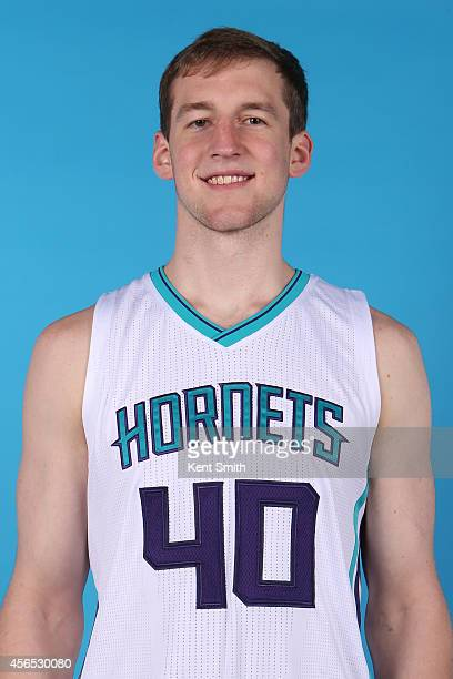 Cody Zeller of the Charlotte Hornets poses for a portrait during 2014 NBA Media Day on September 29 2014 at Charlotte North Carolina NOTE TO USER...