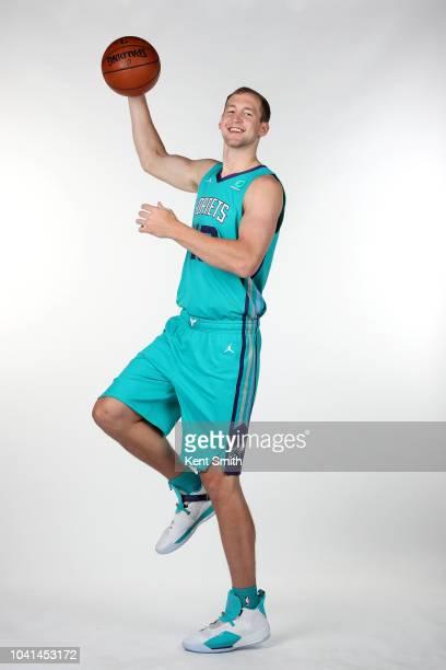 Cody Zeller of the Charlotte Hornets poses for a portrait during the Charlotte Hornets Media Day on September 24 at the Spectrum Center in Charlotte...