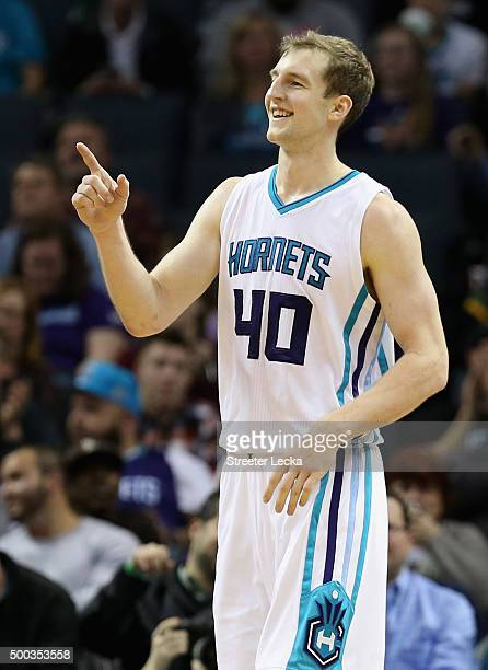 Cody Zeller of the Charlotte Hornets reacts after a play during their game against the Detroit Pistons at Time Warner Cable Arena on December 7 2015...
