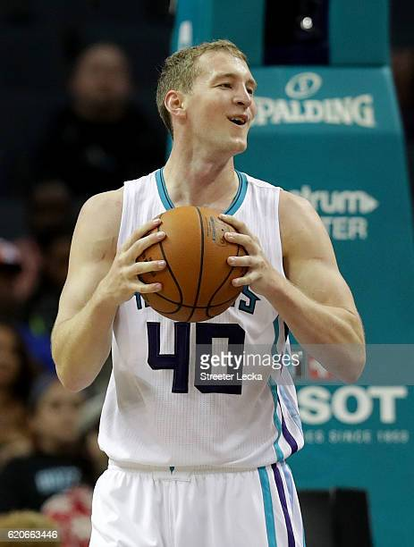 Cody Zeller of the Charlotte Hornets reacts after a play during their game against the Philadelphia 76ers at Spectrum Center on November 2 2016 in...