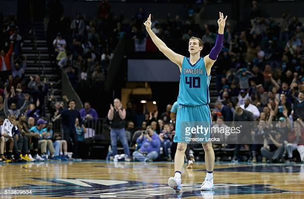 Cody Zeller of the Charlotte Hornets reacts after a teammate makes a basket during their game against the Indiana Pacers at Time Warner Cable Arena...