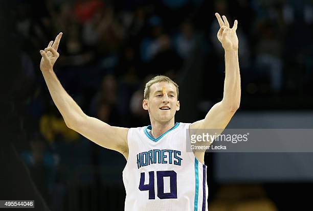 Cody Zeller of the Charlotte Hornets reacts during their game against the Chicago Bulls at Time Warner Cable Arena on November 3 2015 in Charlotte...