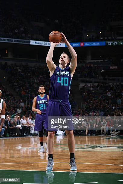 Cody Zeller of the Charlotte Hornets shoots a free throw against the Milwaukee Buckson October 26 2016 at the BMO Harris Bradley Center in Milwaukee...