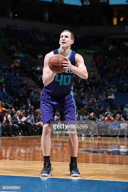 Cody Zeller of the Charlotte Hornets shoots a free throw during a game against the Minnesota Timberwolves on November 15 2016 at the Target Center in...