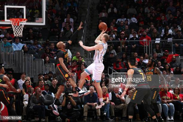 Cody Zeller of the Charlotte Hornets shoots the ball against the Atlanta Hawks on February 9 2019 at State Farm Arena in Atlanta Georgia NOTE TO USER...