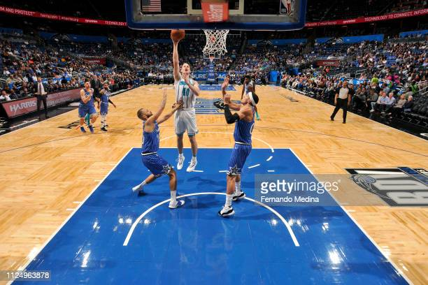 Cody Zeller of the Charlotte Hornets shoots the ball against the Orlando Magic on February 14 2019 at Amway Center in Orlando Florida NOTE TO USER...