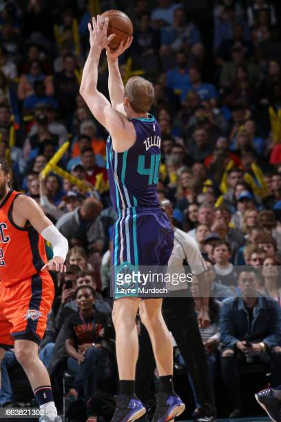 Cody Zeller of the Charlotte Hornets shoots the ball against the Oklahoma City Thunder on April 2 2017 at Chesapeake Energy Arena in Oklahoma City...