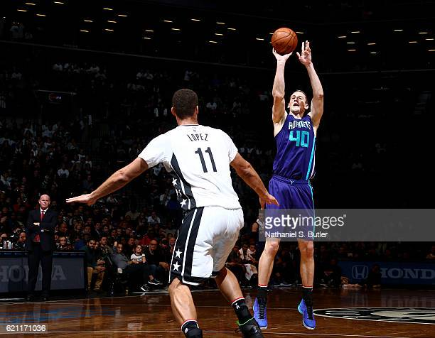 Cody Zeller of the Charlotte Hornets shoots the ball during the game against the Brooklyn Nets on November 4 2016 at Barclays Center in Brooklyn New...