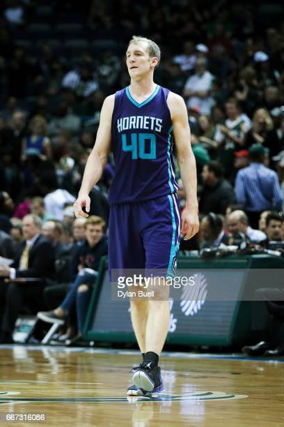 Cody Zeller of the Charlotte Hornets walks across the court in the fourth quarter against the Milwaukee Bucks at BMO Harris Bradley Center on April...